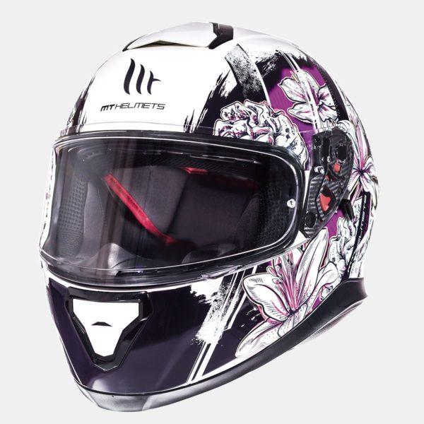 MT Helmets Thunder 3 SV Wild Garden Brillo Perla Blanco Púrpura