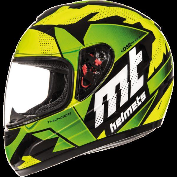 MT Helmets Thunder Kid Torn Brillo Amarillo Flúor Verde Flúor