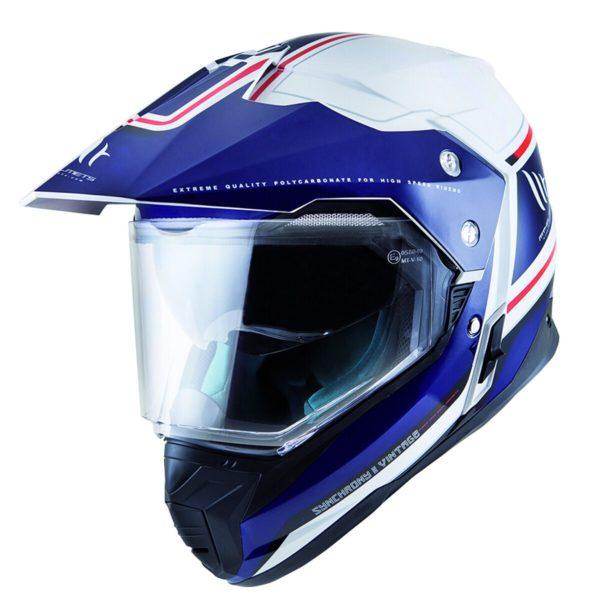 MT Helmets Synchrony Duosport SV Vintage Brillo Blanco Perla Azul Rojo